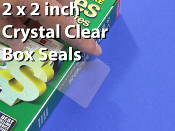 "Clear Square Package Seals 2"" x 2"" Polypropylene  22SQ"